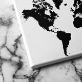 black and white world map canvas art