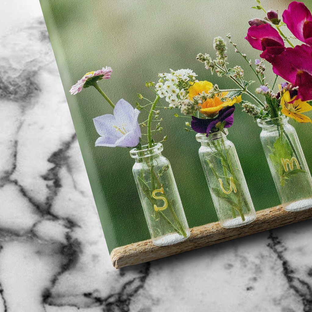 Summer flowers in bottles canvas art