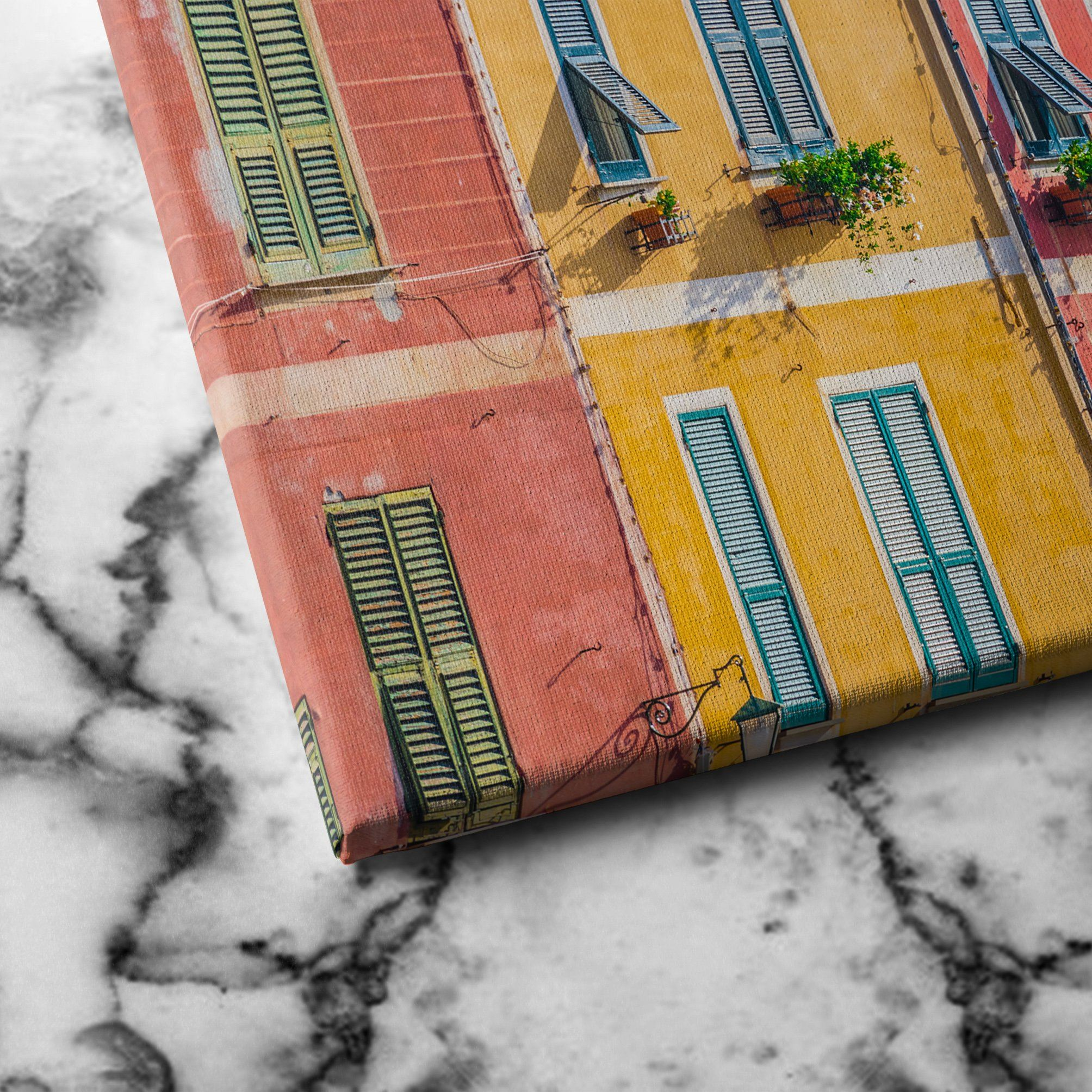 colorful building canvas art