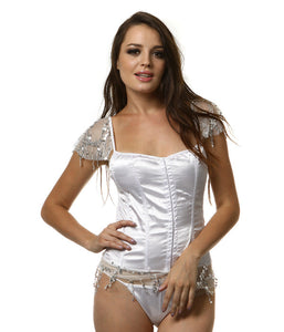 Sexy Fashion Women Lingerie Set Body Shaper Mesh Sequins Backless Strappy G-String Nightgown White