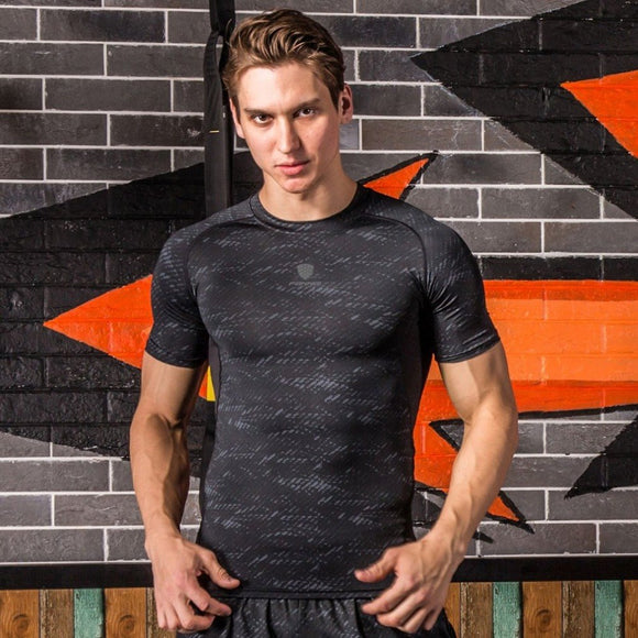 Men Short Sleeve T-Shirt Outdoor Athletic Sports Top Quick Dry Workout Slimming Body Shapers Running Top FN16