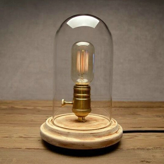 Bell Glass Jar 1 Light Wooden Base Table Lamp Craftslighting