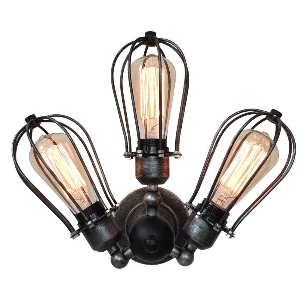 Globe 3 Lights Cage Swing Arm Wall Sconce Craftslighting
