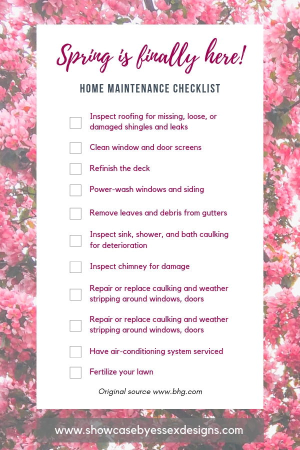 Spring Maintenace Checklist - Essex Designs
