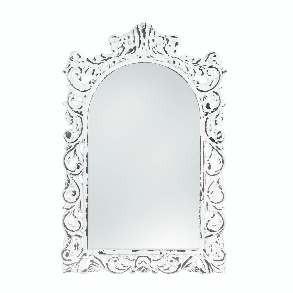 Distressed White Ornate Wall Mirror
