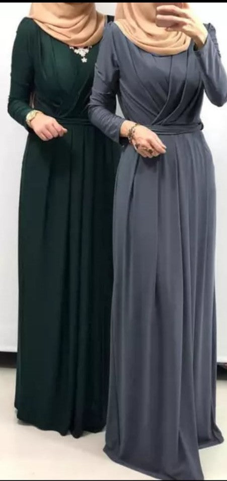 Long-Sleeve Pleated Maxi Dress(Navy blue)