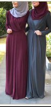 Long-Sleeve Pleated Maxi Dress(Maroon)