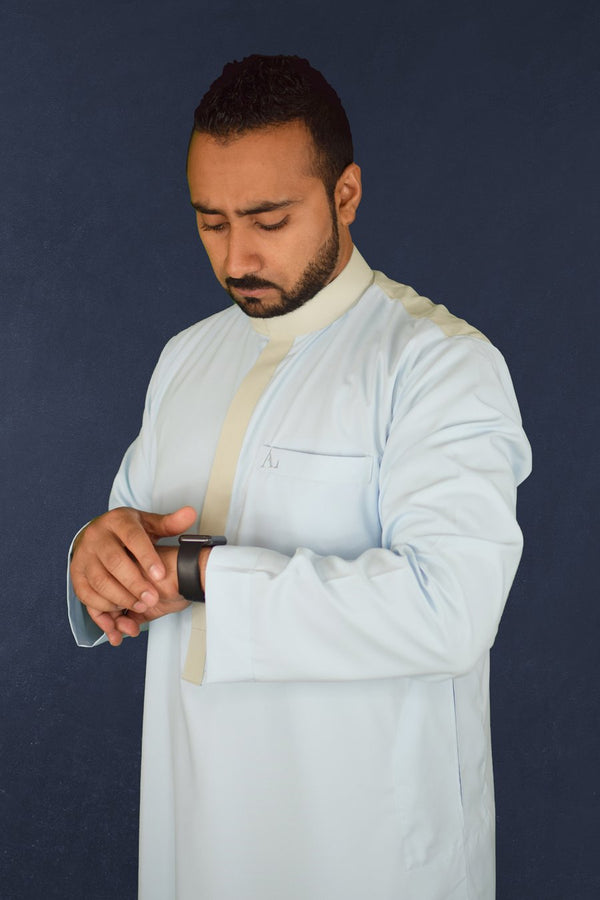 Light Blue Thobe with Ivory Collar