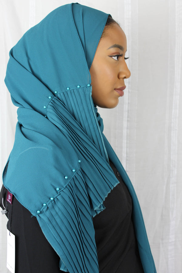 Edge Pleated Chiffon - Emerald