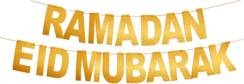 Two Gold Glitter Banners: Ramadan Mubarak and Eid Mubarak