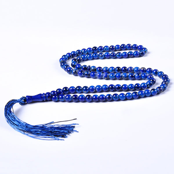 Blue Tasbeeh with Gold Swirl - 100 Beads