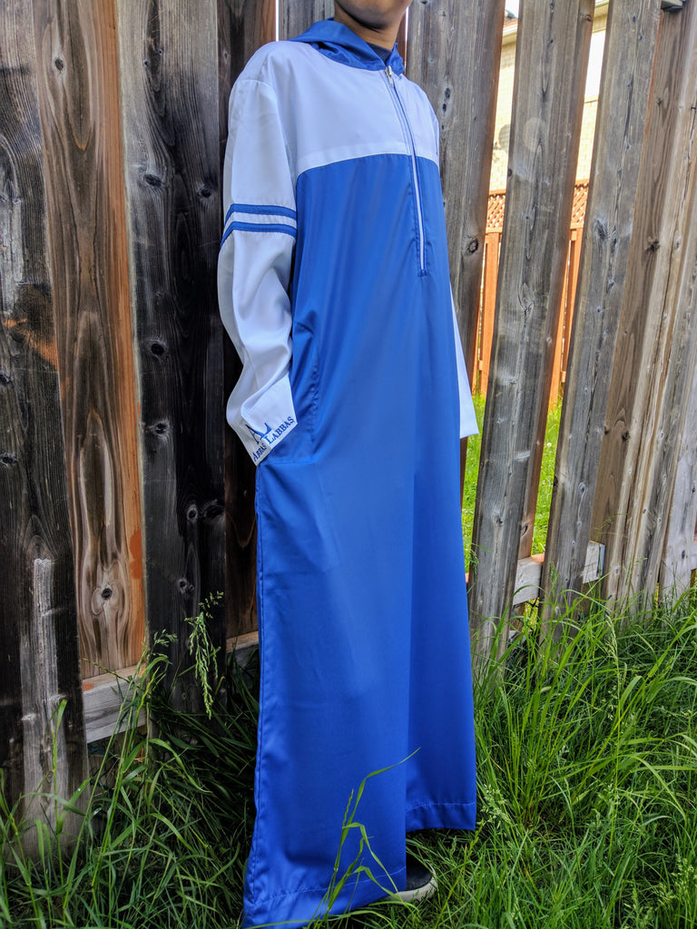 Abbas Labbas Boys Blue Hooded Thobe