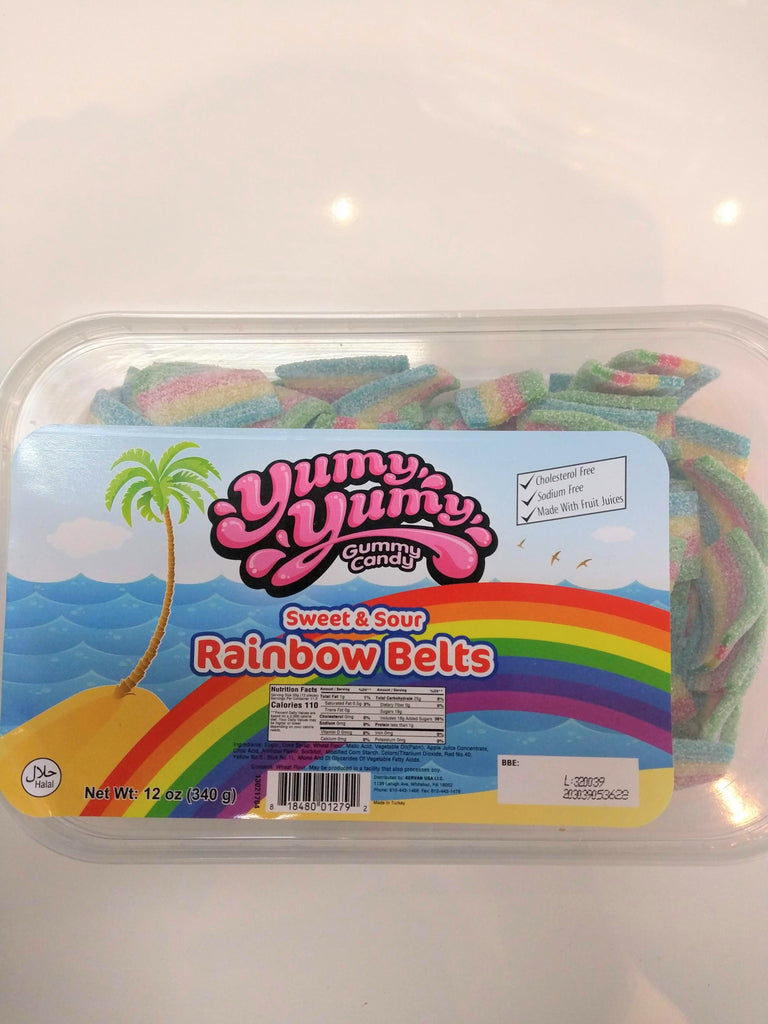 YUMY YUMY Sour Rainbow Belts Gummy Candy Box