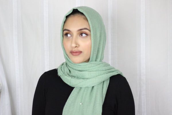 Premium Cotton Hijab with Pearl- Mint Green