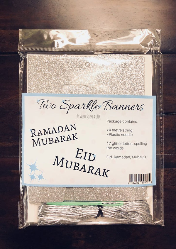 Two Silver Sparkle Banners: Ramadan Mubarak and Eid Mubarak