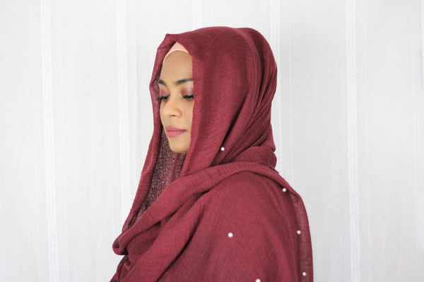 Premium Cotton Hijab with Pearl- Maroon