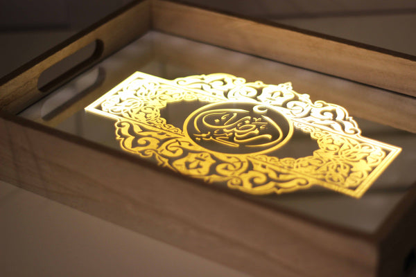 Ramadan Mirrored LED Serving Tray