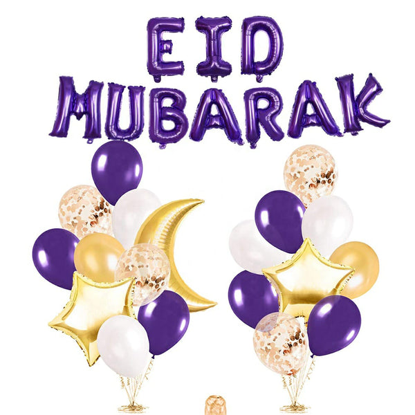 Eid Mubarak Foil Balloon Kit - Purple