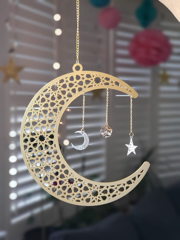 Crescent Moon with Charms