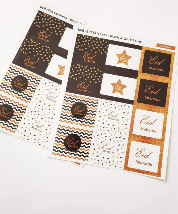 Eid Mubarak Stickers - 24 Black and Gold