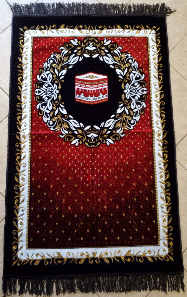 Turkish Prayer Mat - Red & Black with Kabah