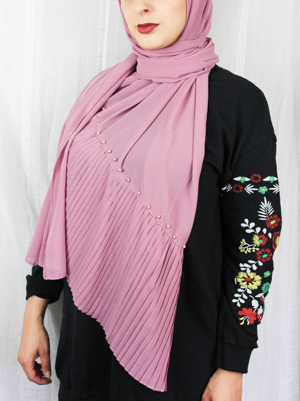 Edge Pleated Chiffon - Pink