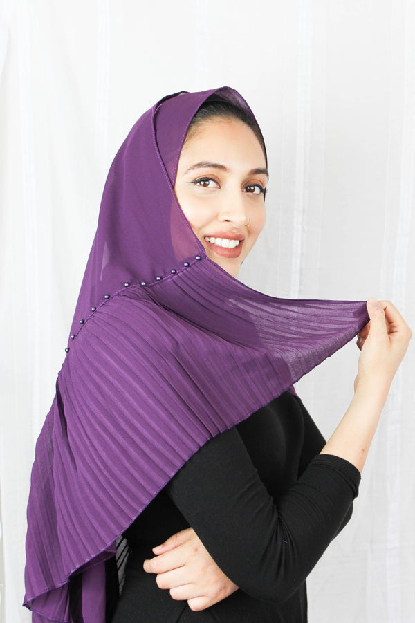 Edge Pleated Chiffon - Purple