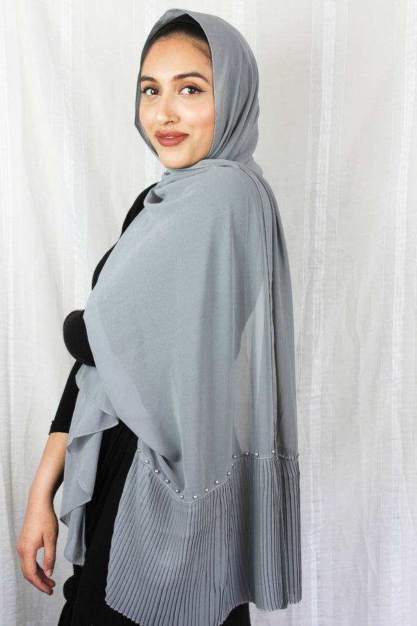 Edge Pleated Chiffon - Grey