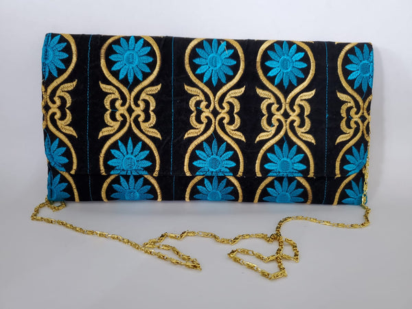 Al Thekeba Arabic Design Embroidery Clutch - Floral Blue