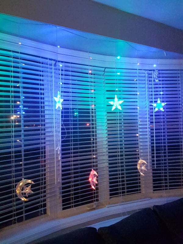 Ramadan / Eid - Crescent/Moon & Star String Lights - Multicolour