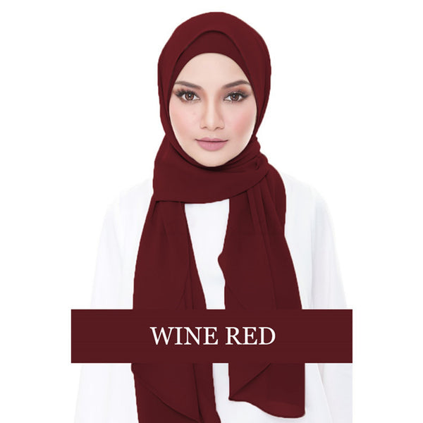 Instant Chiffon Shawl-Wine Red