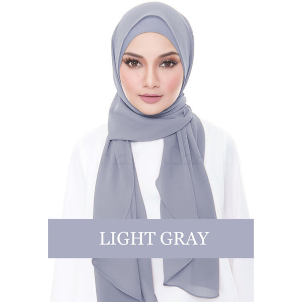 Instant Chiffon Shawl-Light Grayv