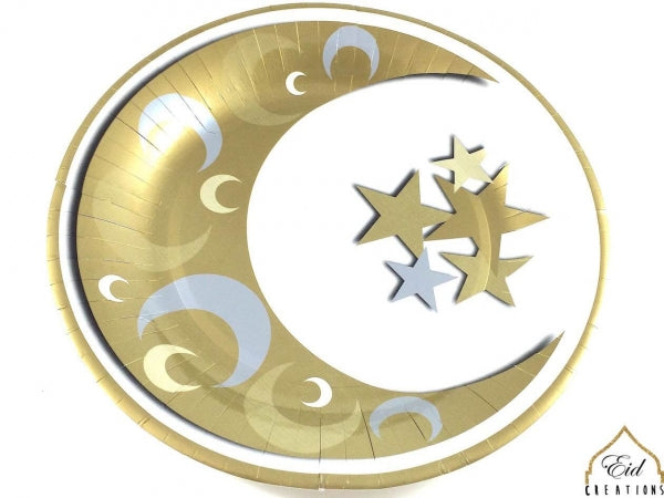 Crescent Gold/Silver Dinner Plates