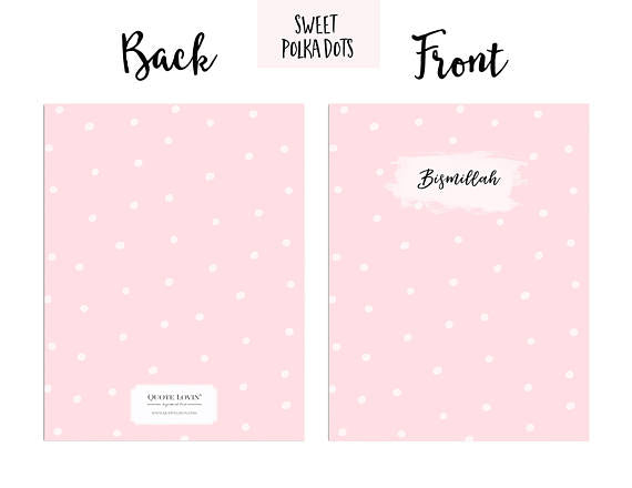 Sweet Polka dots Pink Bismillah QuoteLovin Notebook