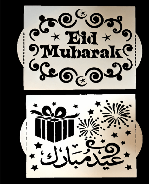 Cake Eid Stencil Set of 2 (1 Arabic & 1 English)