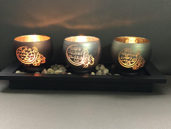 3-Quls Arabic Calligraphy Candle Holder Set