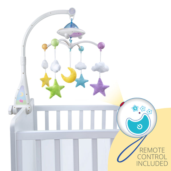Desi Doll Company Moon & Stars Cot Mobile with Light Projection