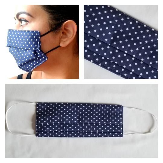 Triple Layered Face Mask - White with Navy Blue Polkadots