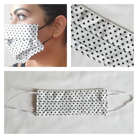 Triple Layered Face Mask - White with Black Polkadots