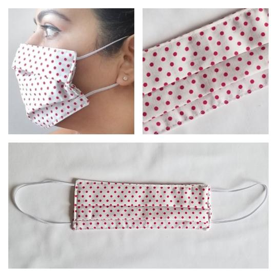 Triple Layered Face Mask - White with Red Polkadots