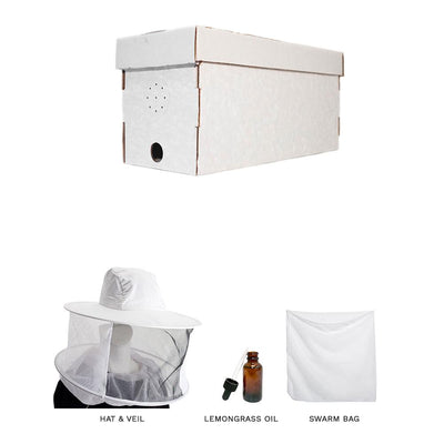 Swarm kit with cardboard nuc box, hat & veil, lemongrass oil, and a large swarm bag