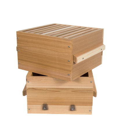 warre hive boxes with windows made from western red ceder