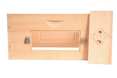 Douglas fir deep box with window open