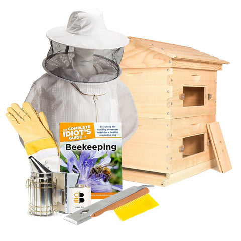 Beehive starter kit with langstroth hive