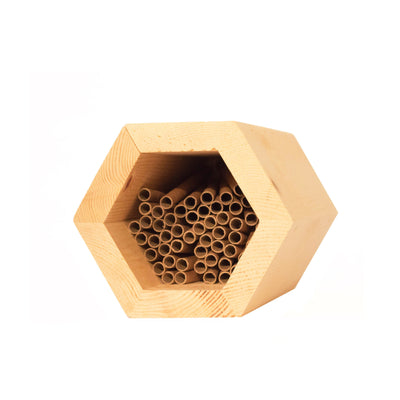 nesting tubes inside of a hex mason bee house