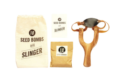 Seed bombs with a slinger for pollinator gardens