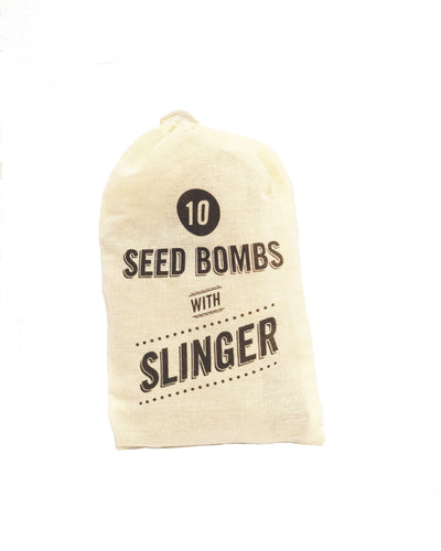 Seed bombs with slinger for pollinator gardens