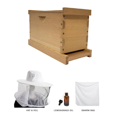 Swarm kit with a deep Langstroth nuc box, hat & veil, lemongrass oil, and a large swarm bag