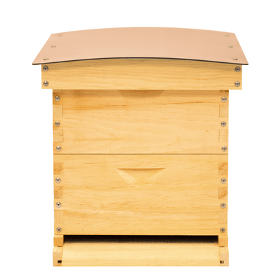 A Standard beehive with two medium boxes and a composite roof