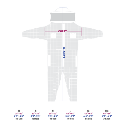 beekeeping suit size chart